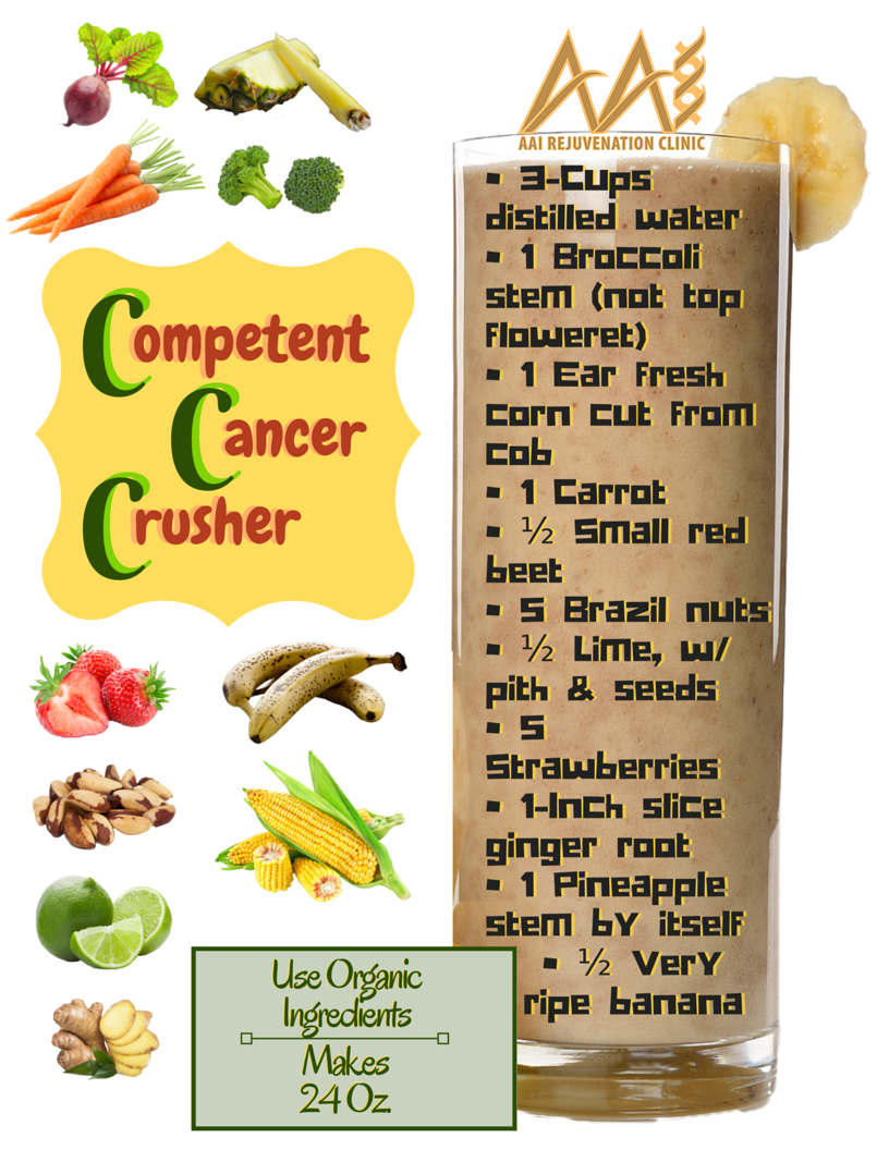 "Cancer Preventing Smoothies (AAI Smoothie Healing and Optimizing) Cancer preventing smoothies are all the rave now. Why? First of all, if you know anyone that has been stricken by cancer and saw what they needed to go through in order to combat the illness, you need no further explanation. Beyond that point is the fact that the immune system is the key component to beating cancer or, more importantly, keeping it out of your body in the first place. This section of our immune boosting smoothies series is dedicated to that most illusive, misunderstood and, sadly, the number one life-taking illness to affect us here in this country. Discussing cancer preventing smoothies is important, not as an alternative to any program your doctor may have you on but, as an add on or preventative form of ensuring your future best health. (Always consult your doctor before changing or adding to any regimen you're currently on or wish to start) Our immune system is what fights off all diseases. It also prevents them. The stronger our immune function, the better resistance we have to all diseases, including ""the big C"". Click here to read the initial portion of this immune boosting smoothie series where we discuss the immune system and its many components and possible issues. Cancer manifests when mutated cells reproduce frenziedly, forming malignant (life threatening) tumors that can assault and eventually take over other parts of the body. There are considerably over 100 types of cancer. More impressive is the idea that the disease can appear in practically any part of the body. The risk of developing cancer depends both on genetics and your surrounding environment. Having a family history of the disease, smoking, being exposed to radiation, any eating a poor diet all increase a person's cancer risk. However much evidence suggests that eating natural, highly nutritious foods can swing even the most at risk individuals back to the other side of the spectrum. That is where our smart cancer preventing smoothies come into play. Best Nutriment for Warding Off Cancer The below foods are potent in their ability to restore and maximize the function of the immune system. They don't only have to be consumed as part of your cancer preventing smoothies. Individually, they carry the compounds you need to constantly keep your body on the defense; at your defense. You can mix and match the ingredients and different foods and come up with your own powerful cancer preventing smoothies. Pineapple stem We all know that bromelain is incredibly effective at combating inflammation and that it's a strong anti-coagulant. Most importantly, it's incredibly effective at naturally boosting the immune system and, moreover, specifically at combating cancer cells. An article in the journal Planta Medica, published in 2007, denoted a study that showed that bromelain was superior to the chemo-agent 5-fluorauracil in treating cancer in animal subjects. Apples, all berries, broccoli, cauliflower, citrus All of the above are excellent sources of flavonoids: powerful antioxidants that may prevent the DNA damage associated with free radicals. Flavonoids also boost absorption of vitamin C, Another antioxidant that is particularly important in the immune system function. BlackBerries, in particular, have one of the highest flavonoid levels of any food in the world. However, all of these fruits and vegetables are valuable sources of the nutrient. Kale, turnip greens, spinach, broccoli, Brussels sprouts, Zucchini All of the above are excellent sources of lutein: a carotenoid nutrient known for its powerful antioxidant power. Lutein is fat-soluble, so it is best absorbed when eaten with foods high in monounsaturated dietary fats like nuts or avocado. Also, cooking reduces the antioxidant power of lutein so it is important to eat these foods as close to their raw, natural state as possible. Kale, turnip greens, collard greens and spinach are also high in folate, a B vitamin link to the prevention of tumors in the female reproductive system. Low folate intake is also associated with a higher colorectal cancer risk. Barley, Crimini mushrooms, Brazil nuts, brown rice These foods are all a good source of selenium, in mineral found to significantly reduce the risk of developing lung, prostate and colorectal cancers. Ginger A new study uncovers the incredible fact that ginger contains a pungent mixture that could be up to 10,000x more effective than straight chemotherapy in targeting the cancer cells at the root of cancer malignancy. Ladies: A new study published in PLoS reveals a piquant component inside ginger known as 6-shogaol is superior to conventional chemotherapy in targeting the root cause of breast cancer malignancy: the breast cancer stem cells. Green tea Long celebrated for its antioxidant powers, green tea contains catechins: a powerful flavonoid that has been specifically linked to cancer prevention. Cloves Yet another medicinal miracle by nature; cloves have been shown to stop the regeneration and activity of cancer cells in breast cancer, ovarian cancer, liver cancer and even in colon cancer cells. Coconuts, coconut oil, avocado, cold water fish All of these foods are high in healthy fats and Omega 3's. Omega 3's are extremely beneficial in the fight against cancer. TIP: Salads need oil to increase the absorption of vitamins and phytochemicals. Coconut oil will do that plus add to your Omega 3 intake. TIP II: Fry some coconut shavings in coconut oil and serve all of it over lightly steamed asparagus (asparagus becomes more potent with light steaming. Do not eat raw). Hemp Oil, Hemp seeds Harvard has found that THC and other compounds in cannabis cut cancerous tumor growth rates in half. AAI's Cancer Preventing Smoothies"